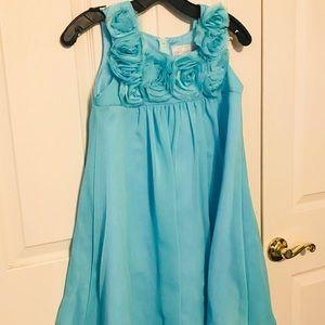 Other - Flower Girl Dress Chiffon Mesh Flowers Aqua Blue